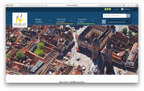 Screenshot der Homepage von Neustadt